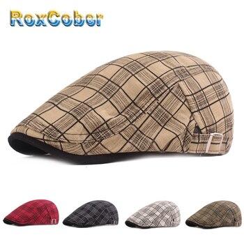 [RoxCober] boinas de tela a cuadros de verano primavera gorras Gatsby conducir gorra de taxista peaky blinder para hombres mujeres sombrero Newsboy gorras