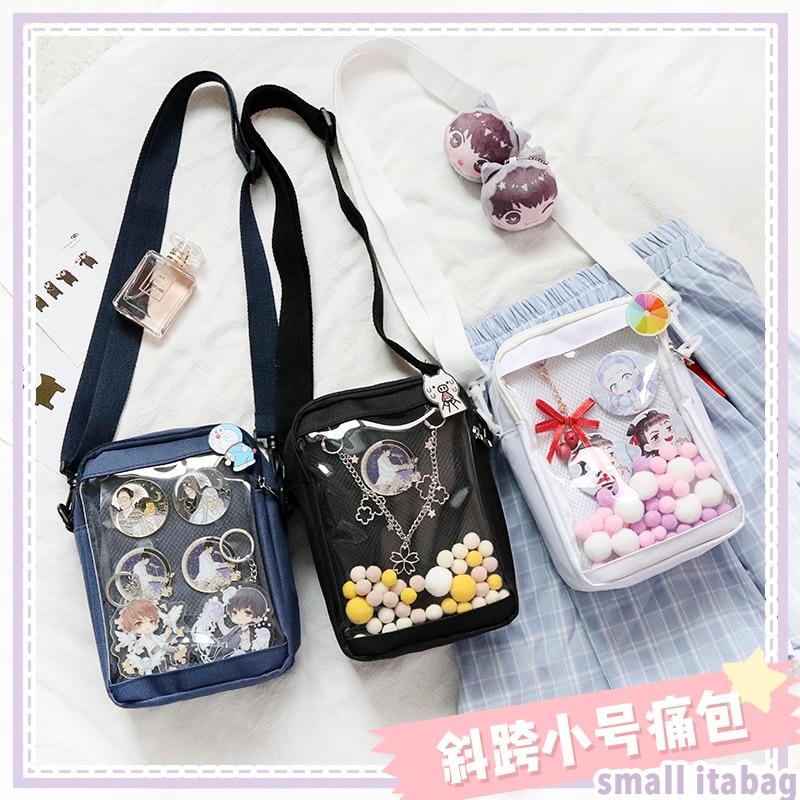 Soft Sister Harajuku Japanese Lolita Transparent Small Itabag Messenger Shoulder Bag Anime Cosplay Uniform Canvas Handbag