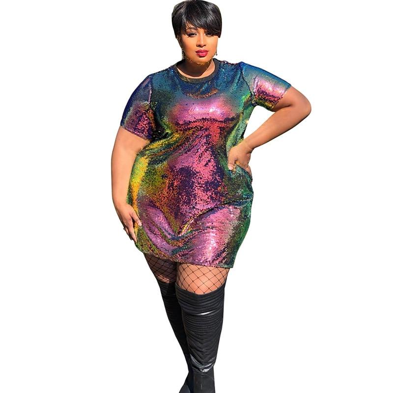 T Shirt Dress Women Plus Size 4XL 5XL XXXXL XXXXXL Oversized Tshirt Dress Sequin Glitter Dress Sexy Party Short Suknia Vestidos