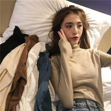 Bottoming Knit Shirts Women Solid Sweaters Slim Fit Ladies Stretch Knitting Tops Black White Blue Khaki Jumper Femme Elasticity(China)
