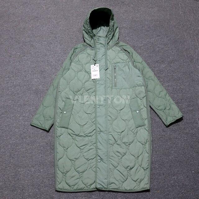 New Autumn Winter Women Vintage Green Parka Jacket Coat Casual Warm Loose Hooded Overcoats Female Oversize Long Outwear Ladies 4
