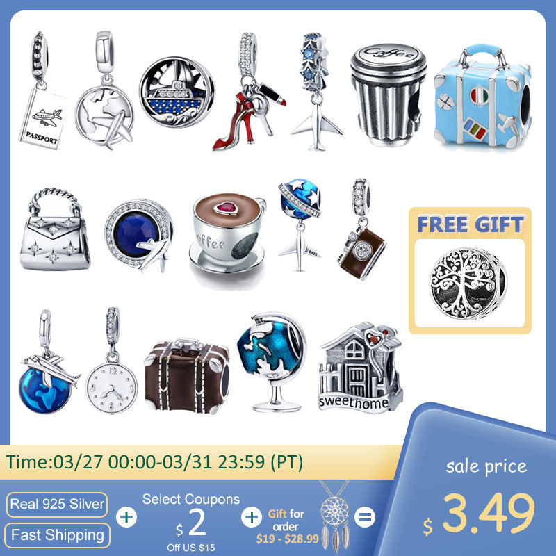 925 Sterling Silver Berloque Family House Eiffel Tower Camera Travel Dream Coffee Cup Shoes Charm Fit Charm Bracelet DIY Jewelry silver silver 925 jewelry diy original 925 silver -