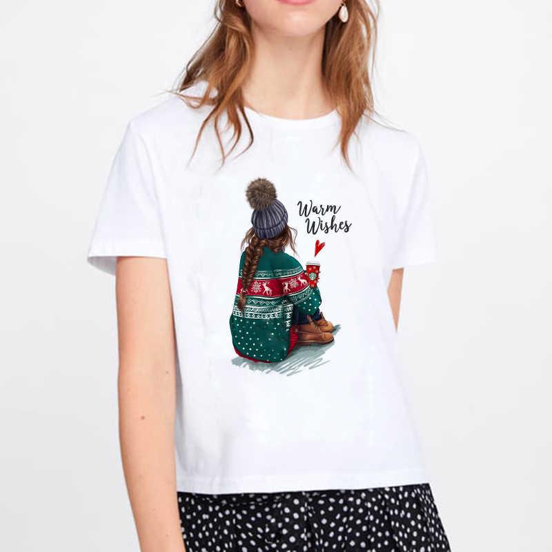 2019 החג שמח harajuku נשים חולצה harajuku נשים אופנה טי Kawaii חולצת טי אופנה הברנש חג המולד המפלגה סגנון
