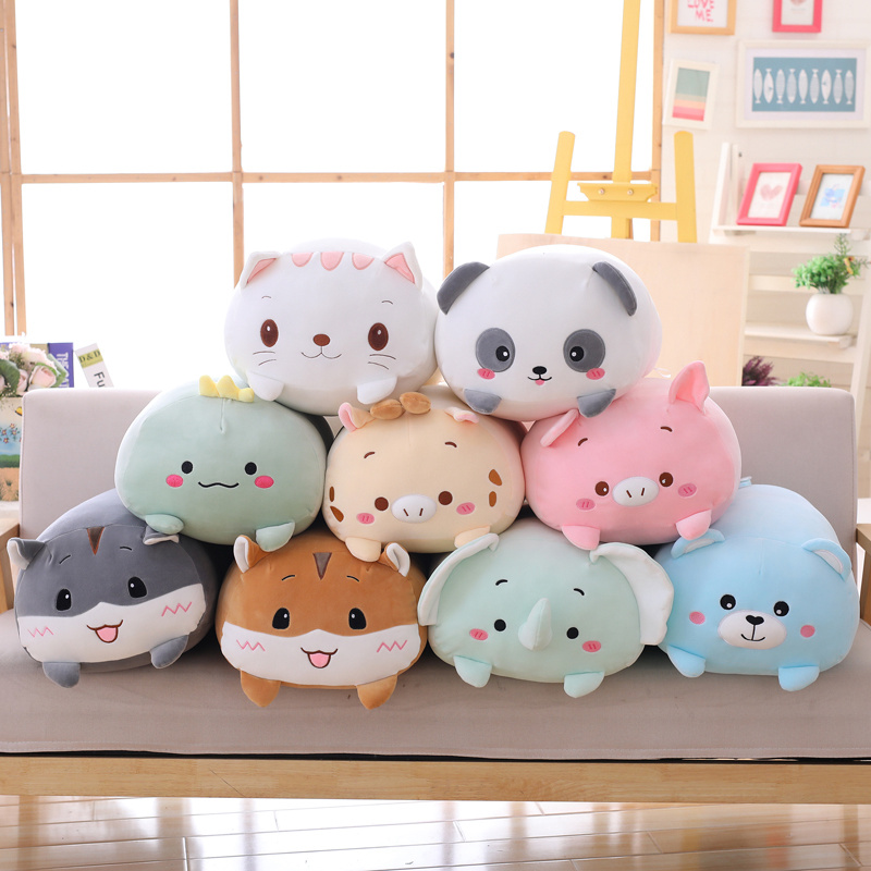 Juguete de peluche de 9 estilos de animales, adorable dinosaurio, cerdo, gato, oso, Panda de dibujos animados, hámster, elefante, ciervo, muñeco de peluche, almohada de regalo para bebé