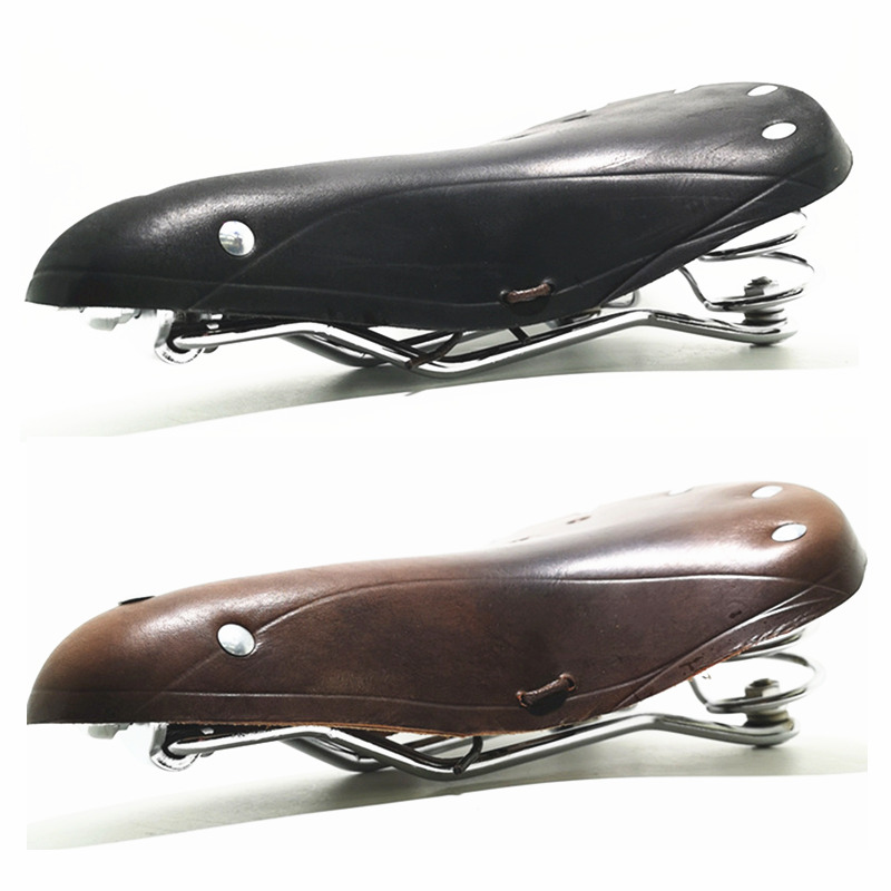 Vintage Retro Bicycle Bike Cycle Cowhide Saddle Seat Spring Comfort Seat Wrench