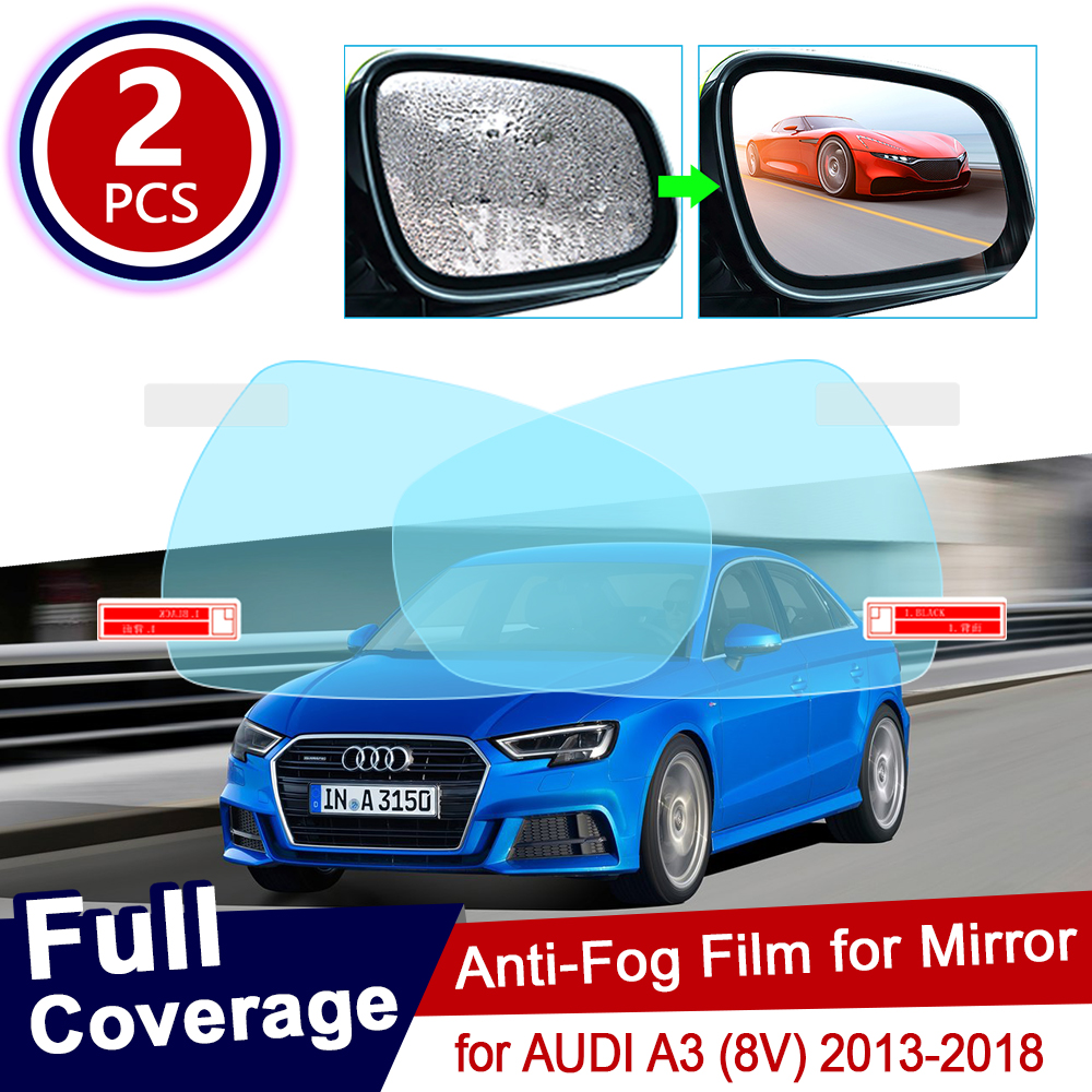 for AUDI A3 8V 2013~2018 Full Cover Anti Fog Film Rearview Mirror Rainproof Clear Anti-fog Films Car Accessories 2014 2015 2017 image