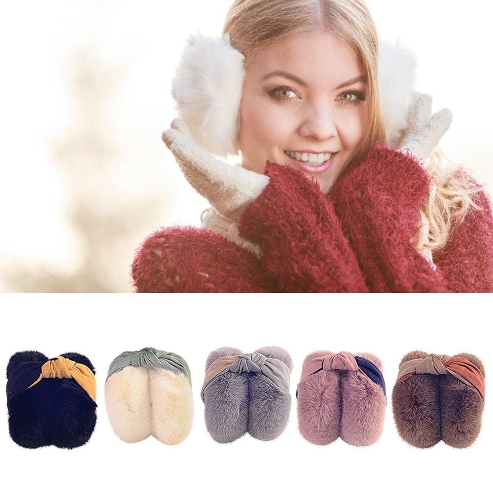 Women Winter Warm Cute Earmuffs Outdoor Folding Bow Tie Hairbands Earmuffs Korean Style Plush Earmuffs For Ladies Children 30E