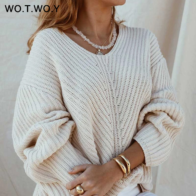 WOTWOY Autumn Knitted Sweater Women 2019 Casual Elegant Long Sleeve V-neck Loose Femme Pullover Korean-Fashion Solid Women Top