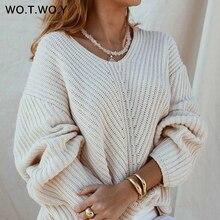 лучшая цена WOTWOY Autumn Knitted Sweater Women 2019 Casual Elegant Long Sleeve V-neck Loose Femme Pullover Korean-Fashion Solid Women Top