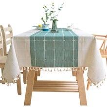 Casa decorativa algodão linho toalha de mesa verde xadrez listrado costura toalha de mesa rendas bordado pingente capa de mesa