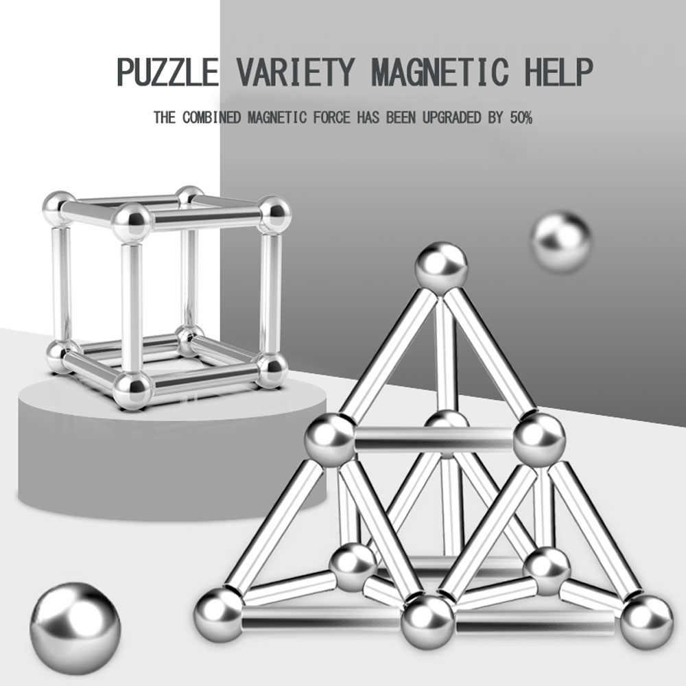 Magnetische konstruieren Bausteine Magnetische Sticks & Silber bälle Zubehör DIY Büro Puzzle Spielzeug für geburtstag geschenk