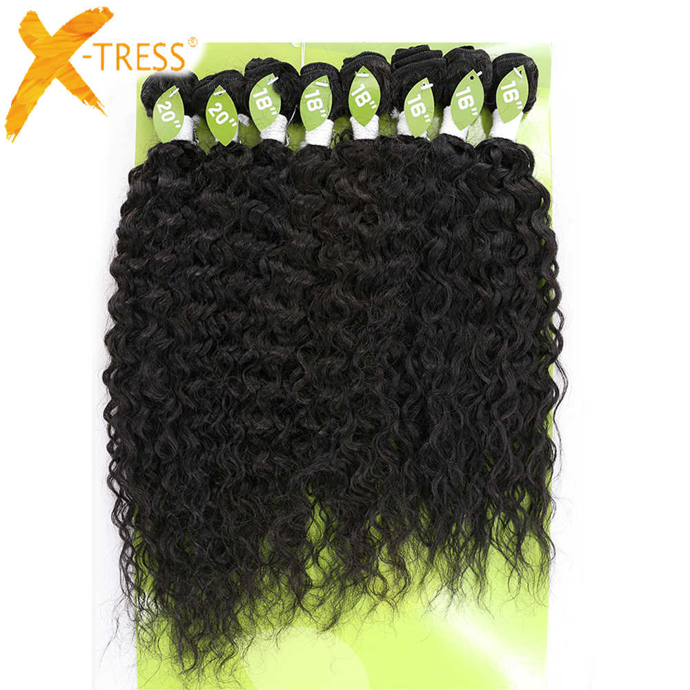 Kinky Curly Synthetic Hair Weave Bundles 16-20inch 8Pieces Sew-in Weaves X-TRESS Ombre Brown Blend 30% Human Hair Weft Extension