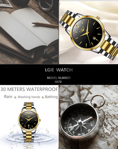 Image 4 - LIGE 2020 새로운 패션 골드 시계 여성 시계 숙녀 크리 에이 티브 스틸 여성용 팔찌 시계 여성 선물 시계 Relogio Feminino