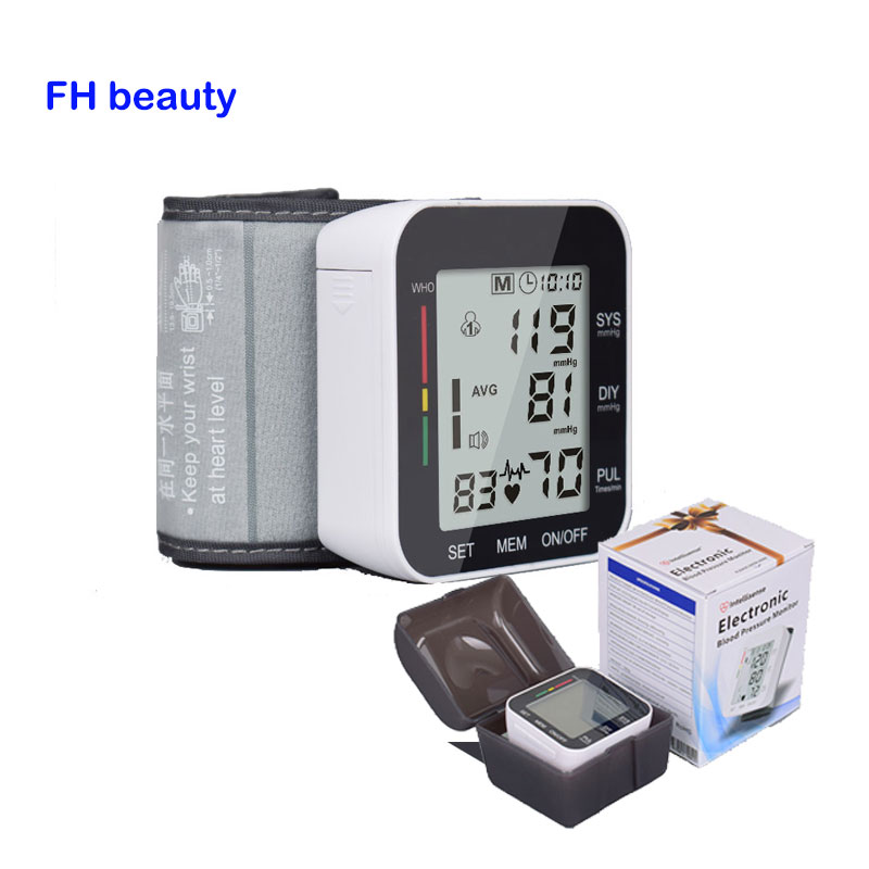 Health Care Automatic Wrist Blood Pressure Monitor + Case Digital LCD Wrist Cuff Blood Pressure Meter Esfingomanometro Tonometer