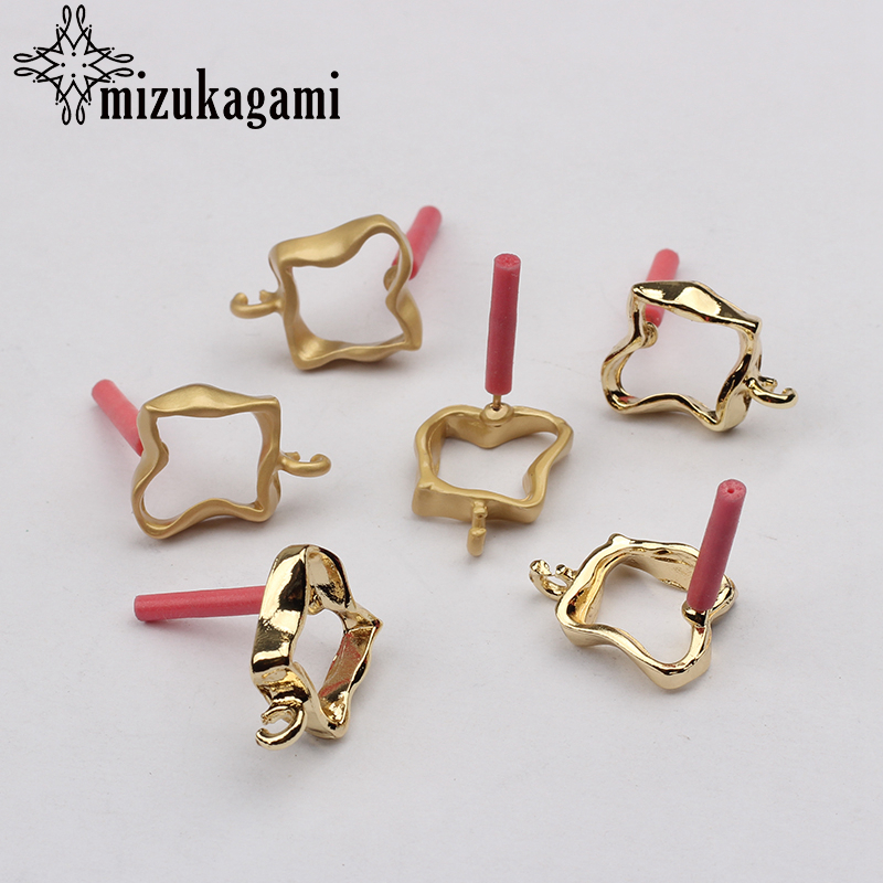 Zinc Alloy Golden Metal Hollow Square Earrings Base Connectors Linkers 12mm 6pcs/lot For DIY Earrings Jewelry Accessories