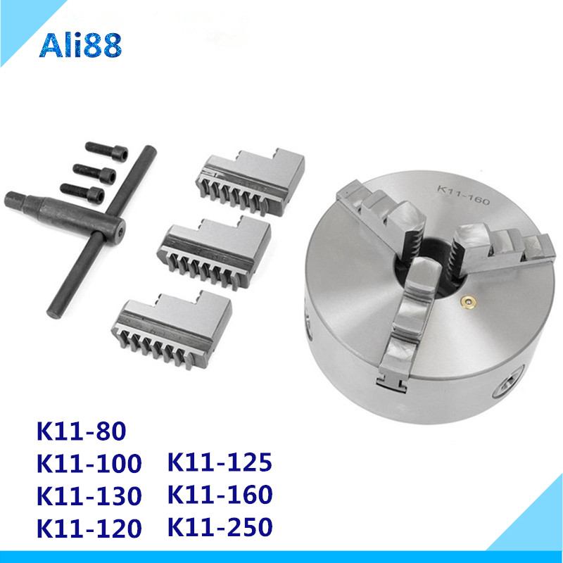 K11- 80/100/125/160/200/250 Self-Centering Chuck  3 Jaws Hardened Steel For CNC Lathe Drilling Milling Machine