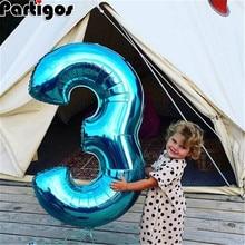 Большой размер 40& 42 дюймов синий/розовый большой номер фольгированные шары 0-9 День рождения Свадьба Помолвка вечерние украшения Globos Детские шары