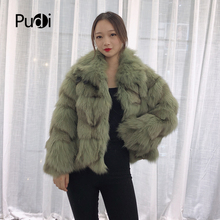 Pudi TX223903 women casual Real fox fur coat jacket warm overcoat lapel collar lady fashion winter genuine outwear