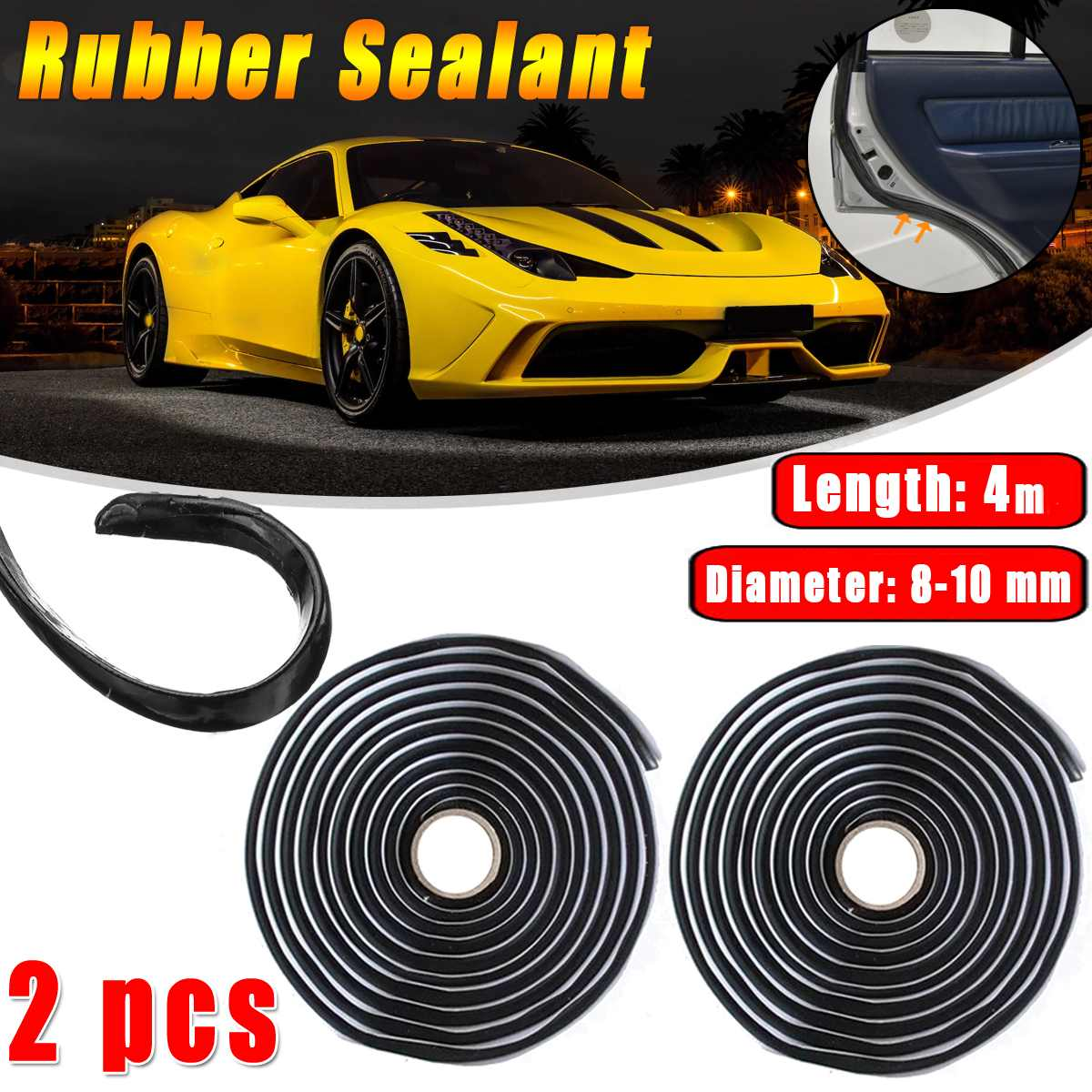 2pcs Car Rubber Sealant 4 Meters Butyl Glue Headlight Windshield Retrofit Reseal Hid Headlamps Taillight Shield Glue Tapes