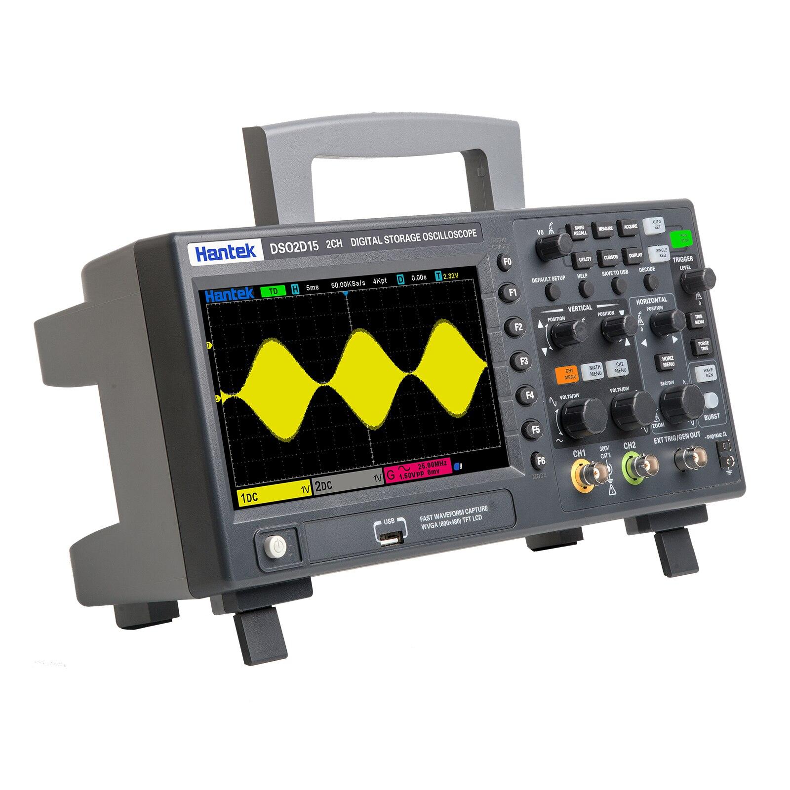 Цифровой осциллограф Hantek DSO2C10 2C15 2CH хранения Osciloscopio 100 м/150 м 1г Sampling DSO2D10 2D15 2CH + 1CH с источника сигнала