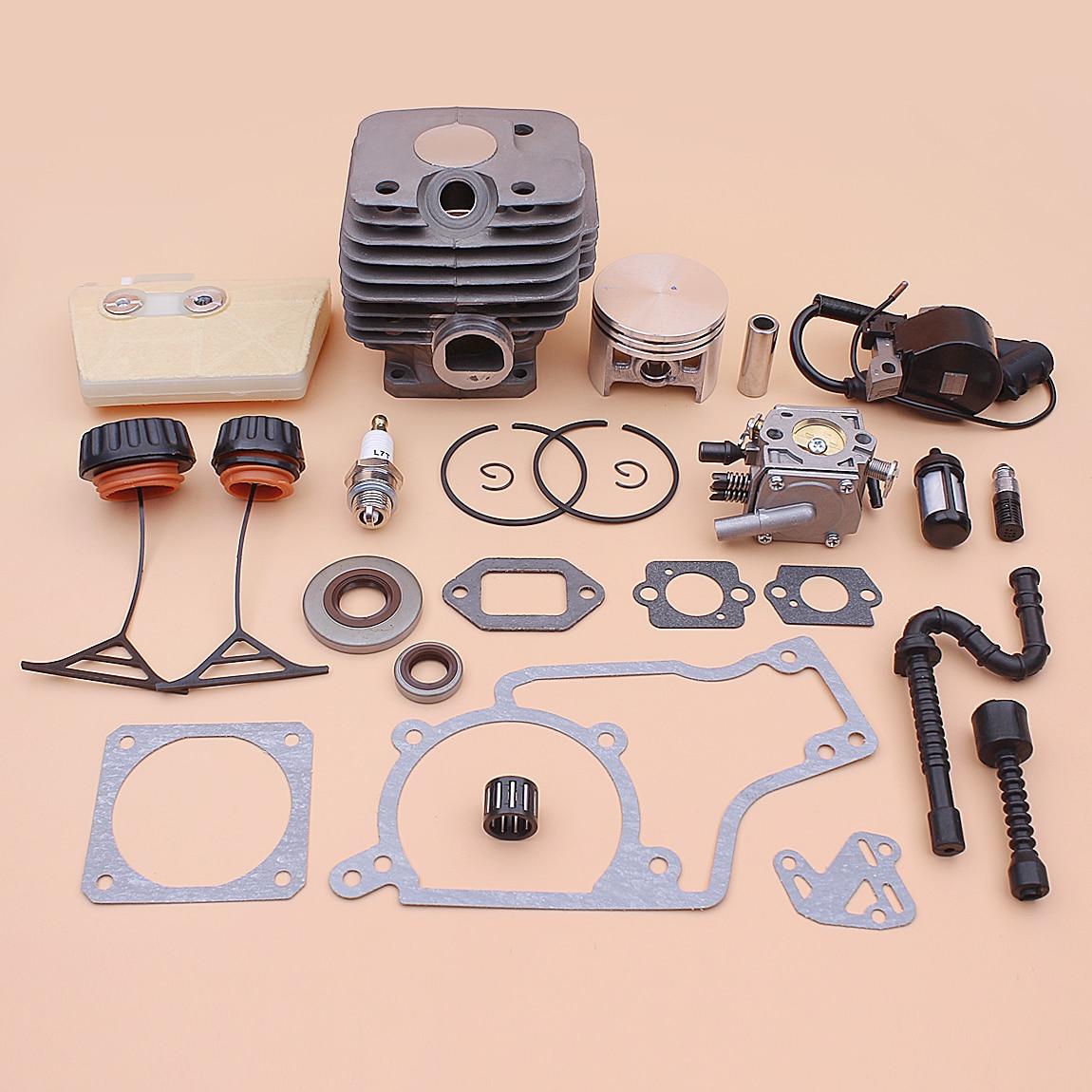 52mm Cylinder Piston Kit For Stihl 038 MS380 Carburetor Ignition Coil Air Fuel Oil Filter Line Seal Cap Gasket Set 1119 020 1202