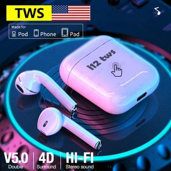 Original Apple AirPods i12 i9s i7s TWS inalámbrico Bluetooth auricular Control táctil auriculares manos libres para iPhone Android Smartphone