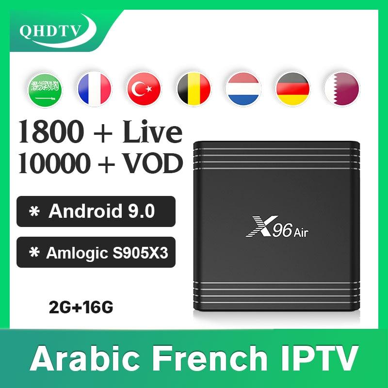 Tüketici Elektroniği'ten Set Üskü Kutuları'de IPTV fransız arapça X96 hava android 9.0 kutu 2G16G ile 1 yıl qhdtv Nederlands hollandalı İspanya Iptv abonelik IPTV fransız title=