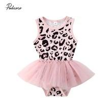 Летняя одежда для малышей, леопардовый комбинезон без рукавов для новорожденных девочек, Сетчатое платье, Детские вечерние кружевные платья-пачки принцессы