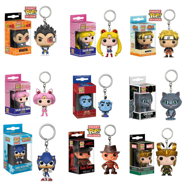 FUNKO POP Keychain Sonic Venom Sailor Moon Uzumaki Naruto Action Figure Toys Decoration Model for Kids Gifts 1