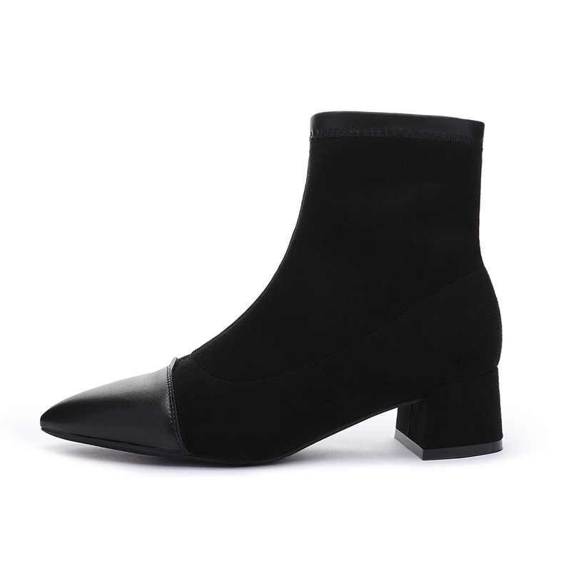 Женские ботинки; ботильоны из флока с острым носком; зимние ботинки на квадратном каблуке; женские Ботинки martin без застежки; модель 2019 года; Цвет черный, бежевый