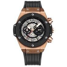 KIMSDUN  Top Brand Mens Watch Luxury Relogio Masculino Fashion Silicone Automatic Hollow Mechanical Clock reloj