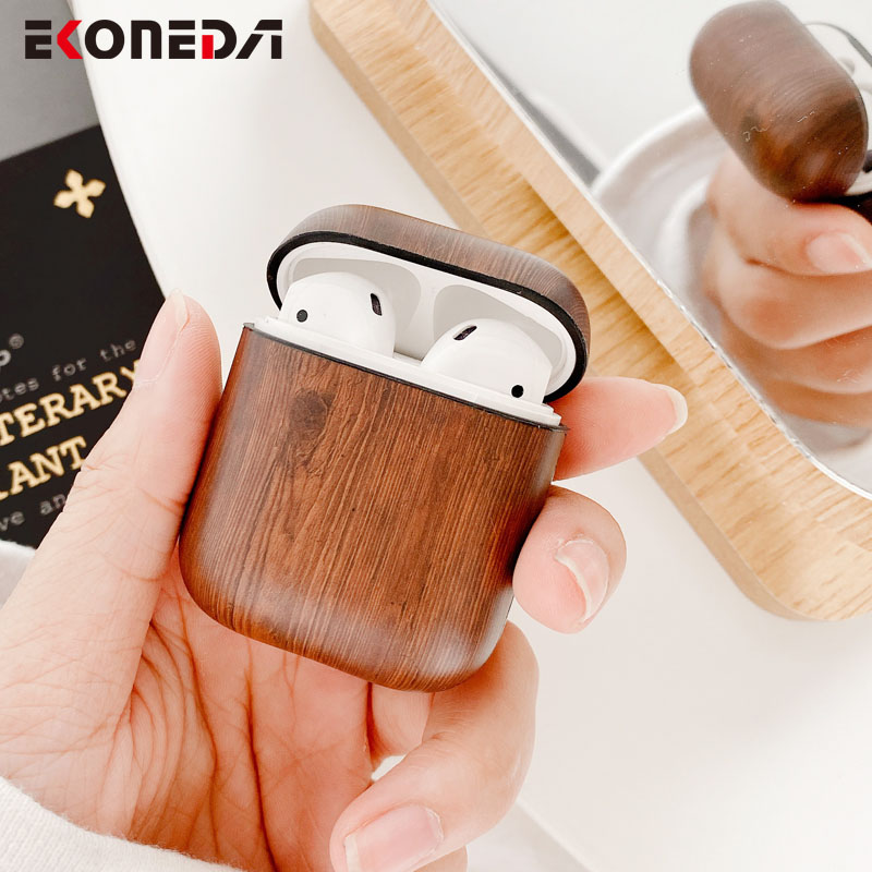EKONEDA Business Vintage Wood Case For Airpods Case Protective Earphone Cover For Apple Airpods 2 Case