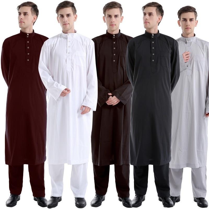 Muslim Robe Arab Men Thobe Ramadan Costumes Solid Arabic Pakistan Saudi Arabia UAE Turkey Abaya Male National Islamic Clothing