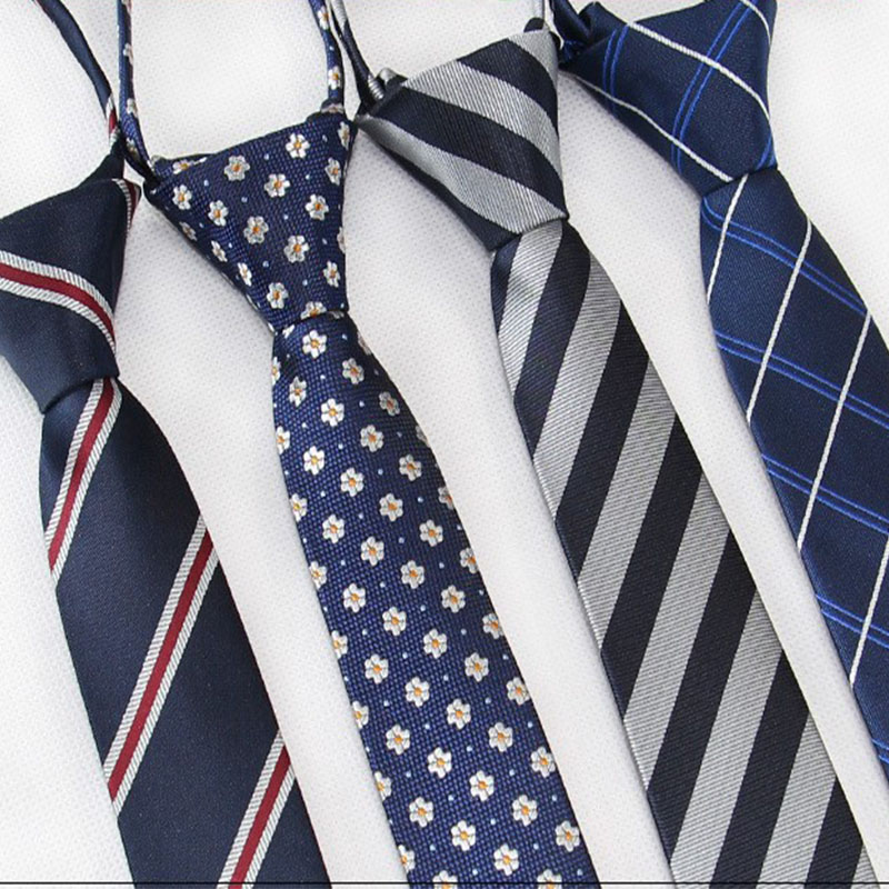 5cm/6cm Fashionable Men Tie Striped Soild Color Leisure Skinny Ties Easy Lazy Zipper Tie Student Party Stage Performance Necktie