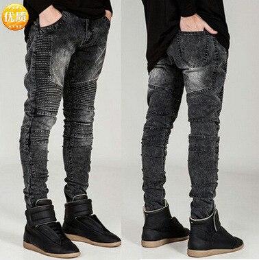 High-End Street American JEANS 3D Cutting Slim Fit Elastic Skinny Pants Locomotive Jeans