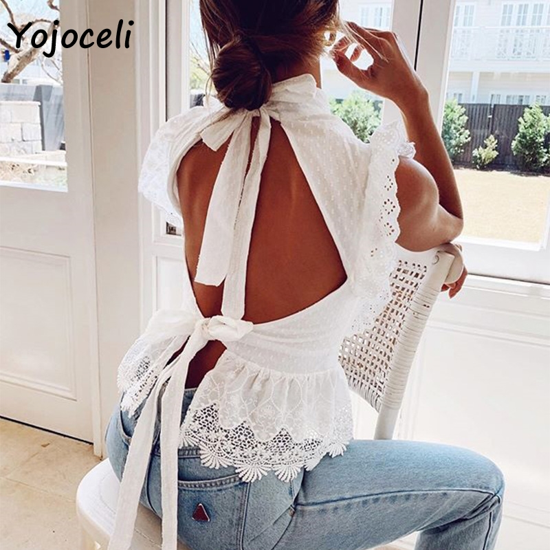 Yojoceli white cotton lace   blouses     shirt   women back bow cotton   blouses   women ruffle lace   shirt