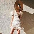 Nice Off Shoulder High Waist Print Dress Vintage Bowknot Short Dress Slash Neck Casual Dress