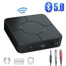 Bluetooth 5.0 adaptador de áudio transmissor e receptor com microfone, aux e rca cabos para telefones alto-falantes fones de ouvido transporte da gota