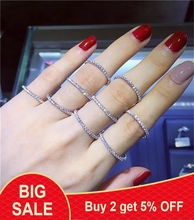 Female Eternity ring 925 Sterling silver Pave Zircon cz Engagement Wedding Band Rings for women Bridal Party Jewelry Size 5-11