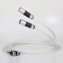 Par 8AG OCC chapados en plata de Audio XLR Cable equilibrio Cable RCA macho a XLR hembra conector Cable Audio 8AG giro Cable