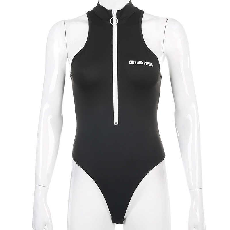 Darlingaga Streetwear fermuar sıska tankı Bodysuit kadınlar yüksek boyun giyisi mektubu baskı Bodycon tulum 2020 yaz Bodysuits