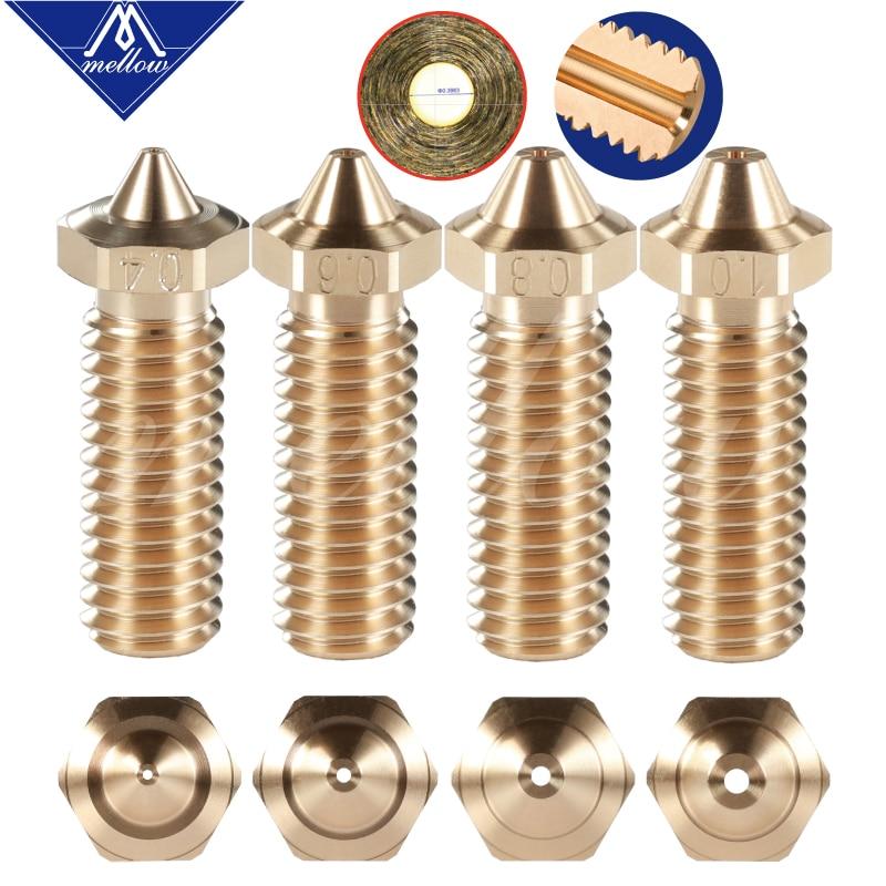 Mellow 1Pcs NF-V6 Sharp Volcano Nozzle Brass Lengthen Extruder Nozzle 0.4--1.2mm For 3D Printer 1.75 Filament E3D Volcano Hotend