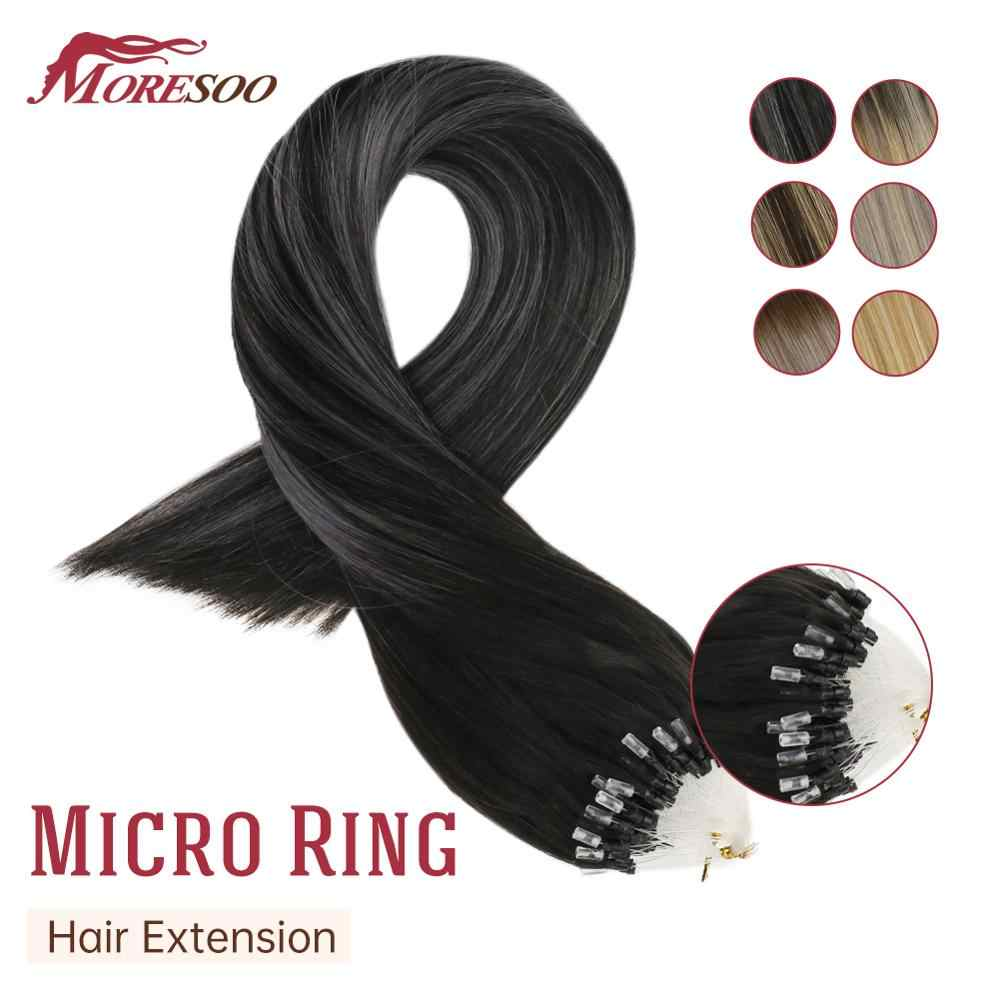 Moresoo Micro Loop Human Hair Extensions Machine Remy Micro Ring Hair Brazilian Hair 1G/1S Cold Fusion Micro Link Hair Extension