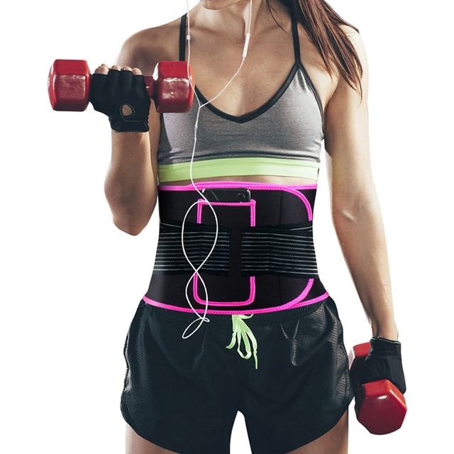 Belly Weight Loss Fat Burn Waist Support Belt With Pocket Elastic Compression Sweating Lumbar Warmer Protection Sports Wrap