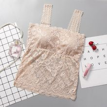 2020 Women's  Sexy Bra Cropped Top Sexy Lace Cami Bralette Crochet Floral Cami Padded Tank Underwear white sexy lace plunge keyhole front cami top