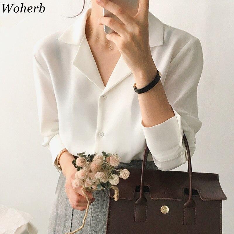 Woherb Elegant Solid Women Blouse Shirts Vintage White Office Lady Casual Work Shirt Female Blouses Korean Casual Blusas Mujer