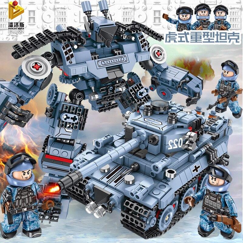 822 lego technic lepins tank building blocks transformers toys morphing robot vehicle aircraft military armas mech bricks weapon