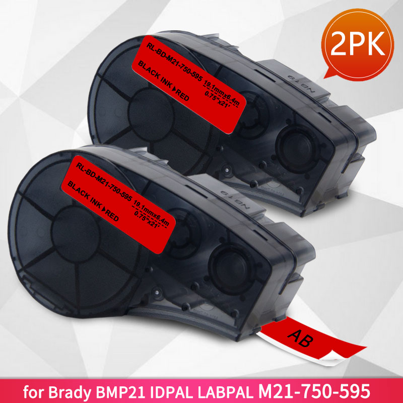 2PK M21-750-595-BK 19.1mm Label Tape Compatible //Brady BMP21-Plus Labels Printer
