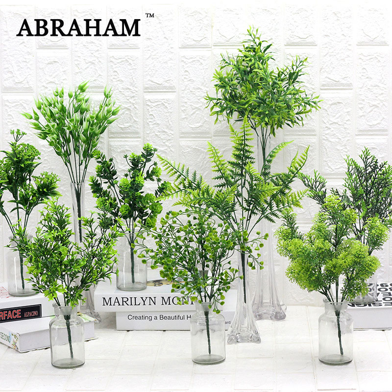 40cm Tropical Artificial Plants Plastic Leaves Small Tree Branch Fake Fern Grass Bouquet For Plant Wall Home Garden Indoor Decor