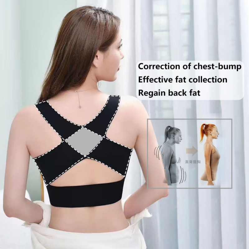ผู้หญิงBrasท่าทางCorrectorกันกระแทกสนับสนุนกีฬาฟิตเนสเสื้อกั๊กกีฬาBras Breathableชุดชั้นในCrossกลับCorset Bra Tops